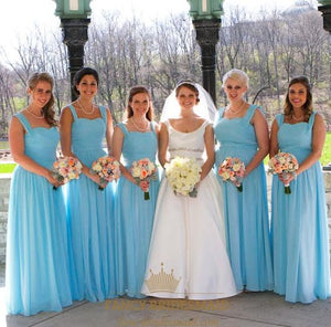 High Quality Light Blue Sleeveless Ruched Chiffon Long Bridesmaid Dress With Straps,BH91133