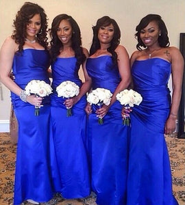 Fashion Royal Blue Satin Bridesmaid Dress Strapless Long Dress For Wedding Party,BH91134