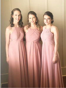 Pink Bridesmaid Dress,Bridesmaid Dress Chiffon,Cheap Bridesmaid Dress,BH91137