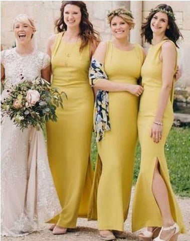Yellow Side Slit Mermaid Long Cheap Custom Bridesmaid Dresses,BH91128