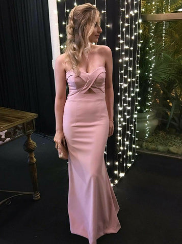 simple pink strapless mermaid long evening dress,HO199