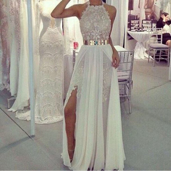 Long Prom Dresses,Charming Prom Dress,white Prom dress,lace prom Dress,2016 prom Dress,BD439