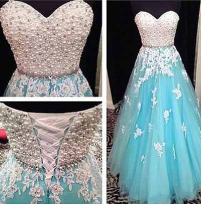 Blue prom Dress,A-line Prom Dresses,2016 prom Dress,Charming tulle prom dress,Party dress,BD042