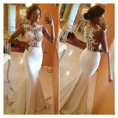 White prom Dress,Charming Prom Dress,Mermaid prom dress, see through prom dress,evening dress,BD021