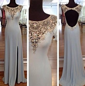 Blue prom Dress,Charming Prom Dresses,Backless Evening Dress,Side slit prom dress,Evening dress,BD034