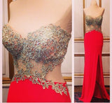 Red prom Dress,Sexy Prom Dresses,Backless prom Dress,Side slit prom dress,Evening dress,BD037