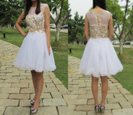 Short prom Dress,Charming Prom Dresses,White prom Dress,homecoming dress,Party dress for girls,BD160