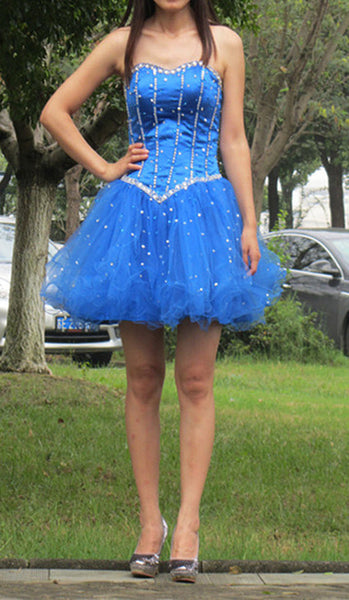 Short prom Dress,Charming Prom Dresses,Blue prom Dress,homecoming dress,Party dress for girls,BD161