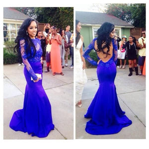 Royal blue Prom Dresses,Long Prom Dresses,Lace Prom Dress,Long sleeves Prom Dress,Mermaid prom Dress,BD144