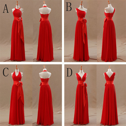 Red Bridesmaid Dresses with Sleeves