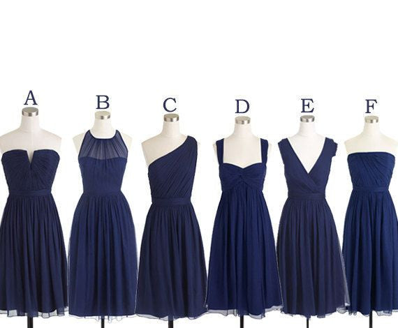 Mismatched Bridesmaid Dress,Short Bridesmaid Dress,Chiffon Bridesmaid Dress,Navy Bridesmaid Dress, BD126