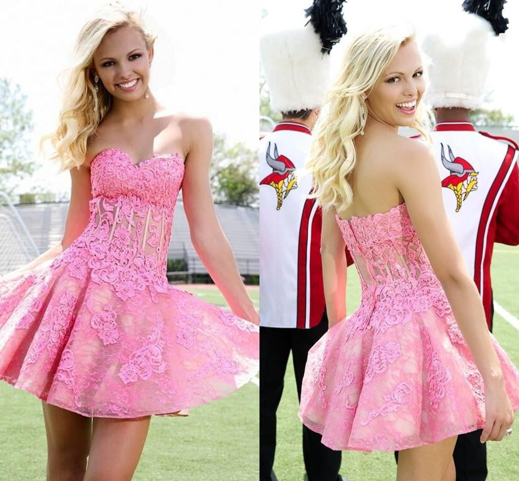 2017 Homecoming dress,Short prom Dress,hot pink lace Prom Dresses,Party dress for girls,BD910
