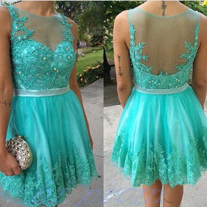fashion Homecoming dress,Short prom Dress,blue Prom Dresses, lace Party dress for girls,BD911