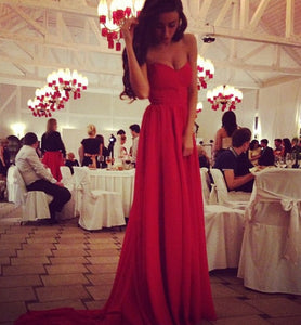 red prom dress,sweetheart Prom Dress,long prom dress,chiffon prom dress,evening dress,BD785