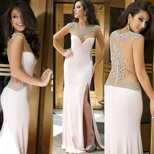 pearl pink prom dress,long Prom Dress,side slit prom dress,charming prom dress,evening dress,BD786
