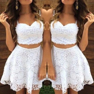 white prom dress,lace prom dress,short prom Dress,two pieces prom dress,Party dress for girls,BD1504