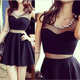 little black dress,Homecoming dress,mini prom Dress,two pieces prom dress,Party dress for girls,BD1502