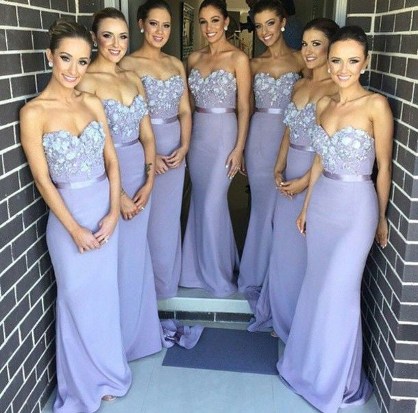 lilac bridesmaid dress,long bridesmaid dress,lace top bridesmaid dress,sweetheart bridesmaid dresses,BD825