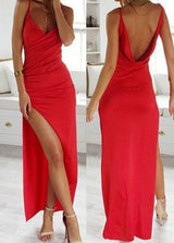 red prom Dress,side slit Prom Dress,long prom dress,sheath prom dress,Low back prom dress,BD1211