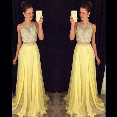yellow Prom Dresses,two-pieces Prom Dress,charming Prom Dress,long Prom Dress,party dress,BD1005