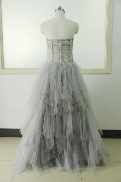light gray prom dress,tulle Prom Dress,long prom dress,strapless prom dress,party dress,BD801
