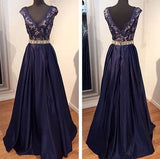 navy Prom Dresses,A-line Prom Dress,v-neck Prom Dress,charming Prom Dress,long prom dress,BD1004