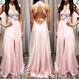 blush pink prom Dress,slit Prom Dress,backless prom dress,Charming prom dress,Long prom dress,BD1019