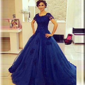 royal blue Prom Dresses,lace Prom Dress,A-line Prom Dress,charming Prom Dress,long prom dress,BD1505