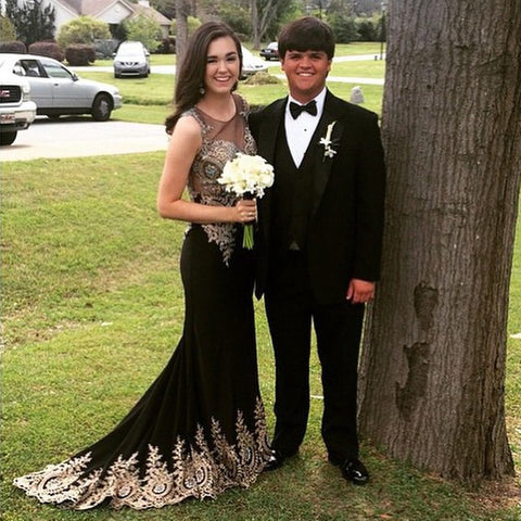 lace applique prom dress,long black Prom Dress,2016 evening dress,formal evening gown,charming prom gown,BD933