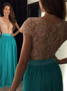 cap sleeves prom dress,blue Prom Dress,Long evening dress,charming evening gown,formal prom gown,BD924