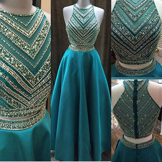 blue prom Dress,two pieces Prom Dress,charming prom dress,A-line prom dress,Long prom dress,BD1202