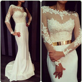 White prom Dress,Long sleeves Prom Dress,Elegant prom dress,Long prom dress,evening dress,BD173