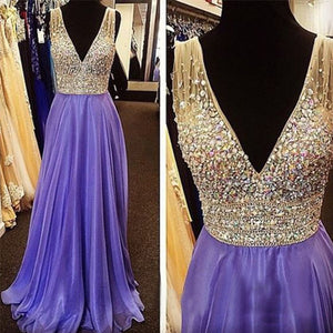 2017 Evening Dress,Purple Prom Dress,V neck prom dress,Charming prom dress,Long prom dress,BD171