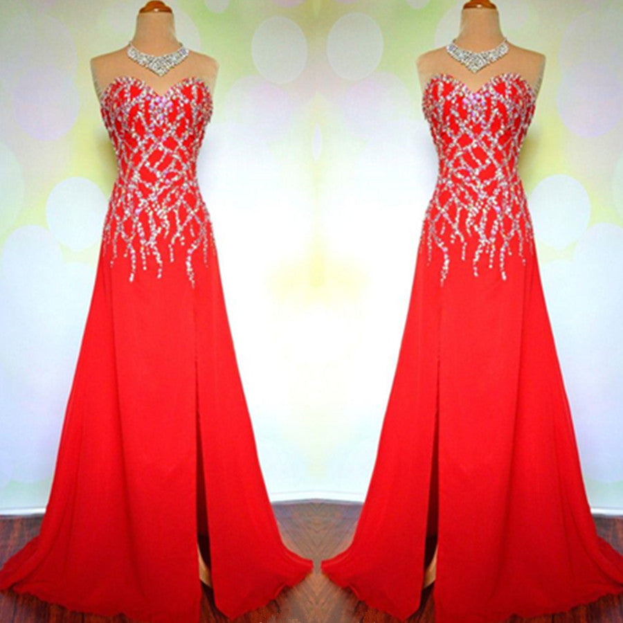 red prom Dress,charming Prom Dress,side slit prom dress,2016 prom dress,Long prom dress,BD1207