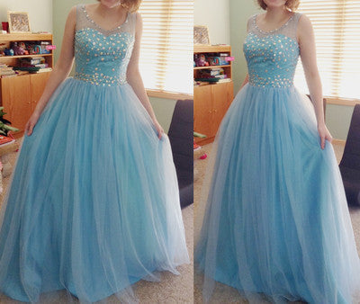 blue prom Dress,charming Prom Dress,tulle prom dress,ball gown,Long prom dress,BD1030
