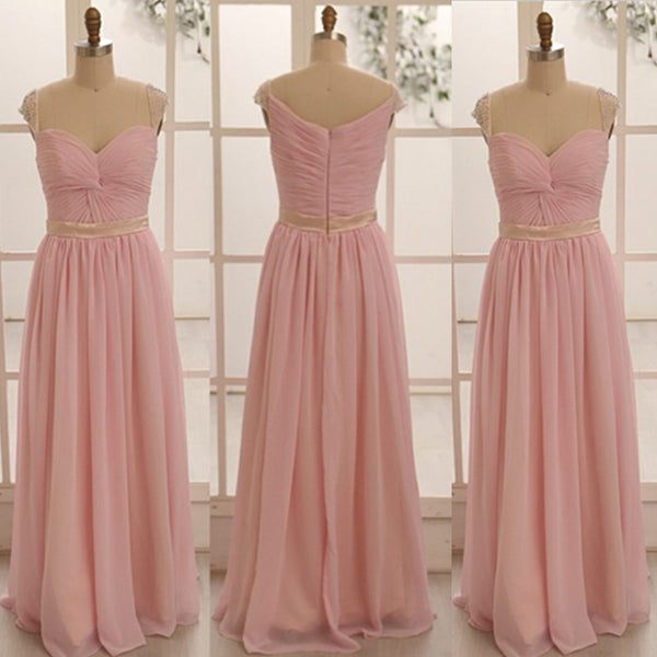 pink bridesmaid dress,long bridesmaid dress,chiffon bridesmaid dress,simple bridesmaid dresses,BD1253
