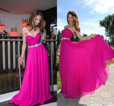 hot pink prom Dress,sweetheart Prom Dress,long prom dress,chiffon prom dress,2016 prom dress,BD1212