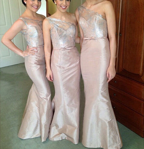 one shoulder bridesmaid dress,long bridesmaid dress,lace top bridesmaid dress,sheath bridesmaid dresses,BD830