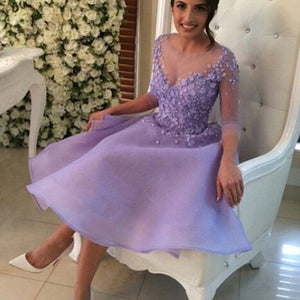 2017 Homecoming dress,Short prom Dress,lavender Prom Dresses,long sleeves prom dress,BD1239