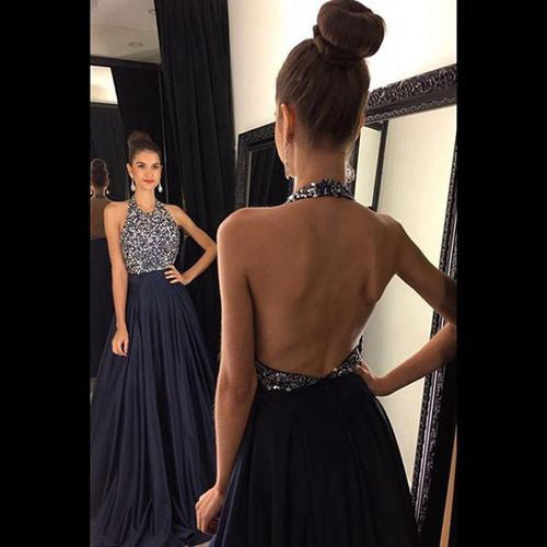Halter Prom Dresses,Long Prom Dress,Dresses For Prom,Navy Prom Dress,Charming Backless Party Dress,BD155