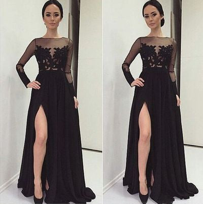 Long Sleeve Prom Dresses,Leg Slit Prom Dress,Black Prom Dresses,Chiffon Prom Dress,Cheap Prom Dresses,PD00141