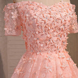 Pink prom Dress,Lovely Prom Dresses,Party dress for girls,Off shoulder prom dress,homecoming dress,BD366