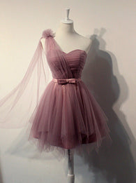 One shoulder prom Dress,Cheap Prom Dresses,Party dress for girls,Tulle prom dress,homecoming dress,BD369