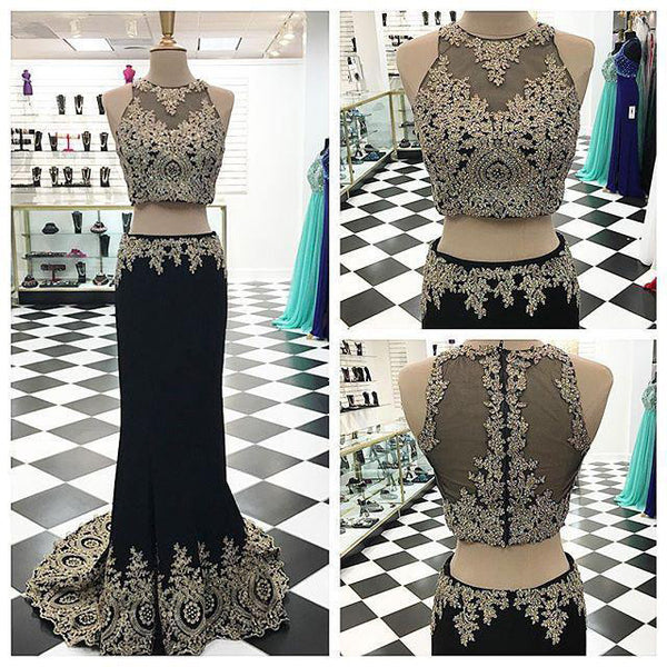 Lace Appliqued prom dress,Mermaid Prom Dress,Two Pieces Evening Dress,long evening dress,BD910