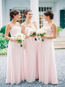 light pink bridesmaid dress,long bridesmaid dress,chiffon bridesmaid dress,sweetheart bridesmaid dresses,BD827