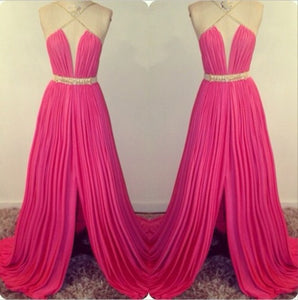 hot pink prom Dress,long Prom Dress,side slit prom dress,2016 prom dress,evening dress,BD1408