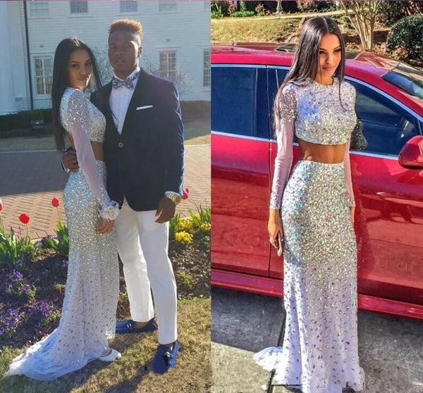 two pieces prom Dress,white Prom Dresses,long sleeves prom dress,long prom dress,party dress,BD1659