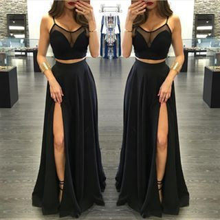 Two Pieces Prom Dresses,Sexy Prom Dress,Spaghetti Straps Prom Dress,Leg Slit Prom Dress,Attractive Prom Dress,PD0018