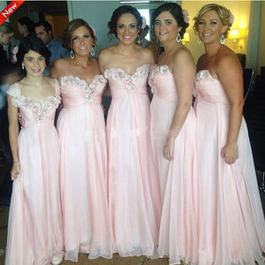pink bridesmaid dress,long bridesmaid dress,chiffon bridesmaid dress,cheap bridesmaid dress,BD1601