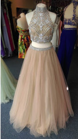 two pieces Prom Dresses,beaded prom dress,charming prom Dress,tulle prom dress,high neck evening dress,BD2417